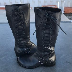 Born beautiful black leather lace up boots